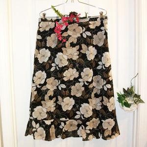 Croft & Barrow Black & Tan Floral Skirt